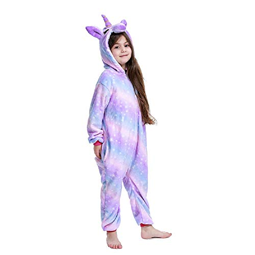 FuRobes Kids Unisex Animal Polar Fleece Unicorn Onesie Pajamas Cosplay Costume for Halloween Party Bright Purple Galaxy 10-12 Years Old