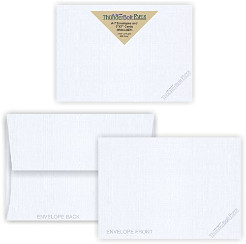 5X7 Blank Cards with A-7 Envelopes - Bright White Linen - 50 Sets by ThunderBolt Paper - Textured Finish - Invitations, Greeting, Thank Yous, Notes, Holidays, Weddings, Birthdays - 80# Cardstock