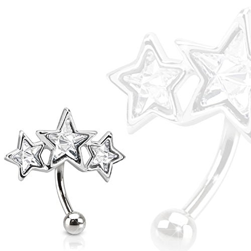 16GA Triple Star 316L Surgical Steel Eyebrow Curve with Paved Star Shaped CZs -