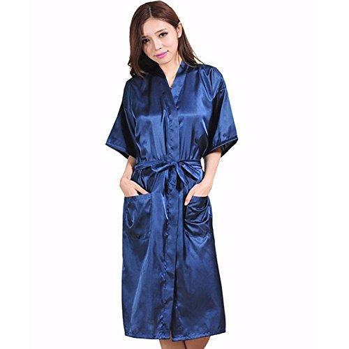 CHUNHUA el color de imitación pijama de seda camisón de seda sólidos albornoz chándal (color opcional) , rose red , l deep blue