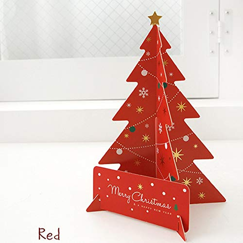DoreenBeads 18.5x13.8cm Creative 3D Christmas Tree Cards Gifts Merry Christmas Xmas Blessing Card for New Year Gift Green/Red -