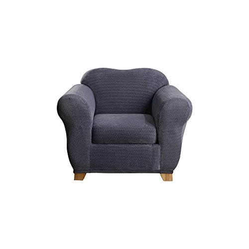 Sure Fit Stretch Royal Diamond 2-Piece - Chair Slipcover  - Storm Blue (SF43406)