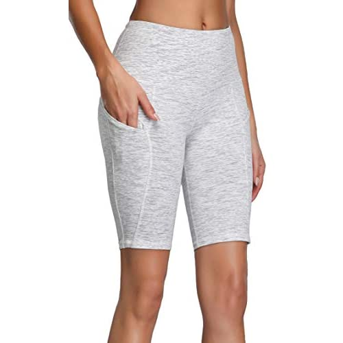 CNRCUOCKI Womens High Waist Athletic Shorts Reflective Compression Running Shorts Yoga Shorts with Pocket