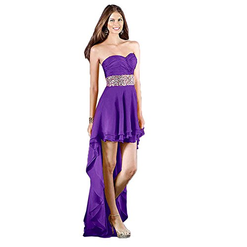Alyce Paris Strapless Chiffon High-Low Gown Purple – 6