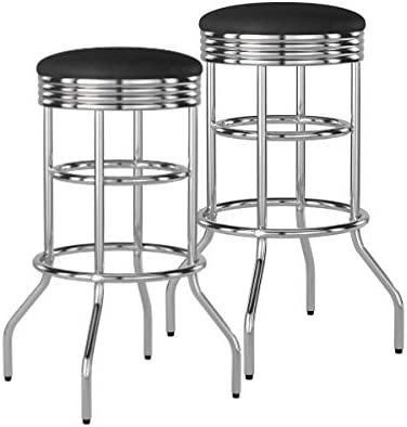 TRINITY Chrome Swivel Barstool 2-Pack Bar stool, Black