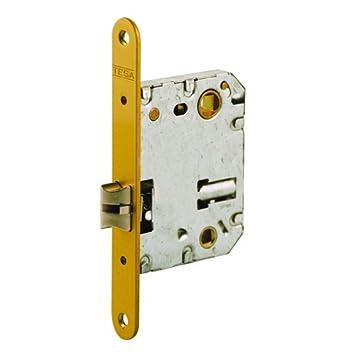 Tesa Assa Abloy, 13458RHL Cerradura de embutir para puertas de madera, frente redondeado, Entrada 50mm, Latonado: Amazon.es: Bricolaje y herramientas