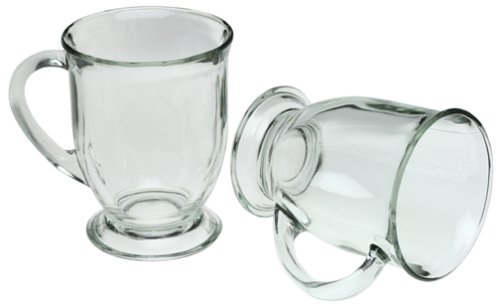 Anchor Hocking Café Glass Coffee Mugs, Clear, 16 oz (Set of -
