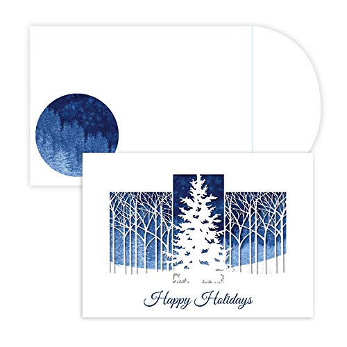 Masterpiece Holiday Collection 12-Count Laser Cut Christmas Cards, Winter Woods