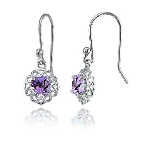 Amethyst Flower Dangle - Sterling Silver Amethyst Round Filigree Dangle Earrings