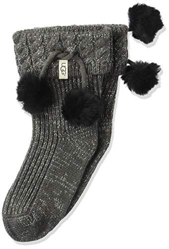 UGG Girls' Little Rahjee Pom Rainboot Sock, charcoal/silver, 2/4 YRS