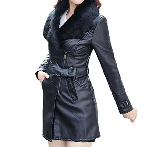 Womens Jacket Zip Up, Freeheart Faux Fur Leather Plush Jacket Long Walking Coat (L, Black)