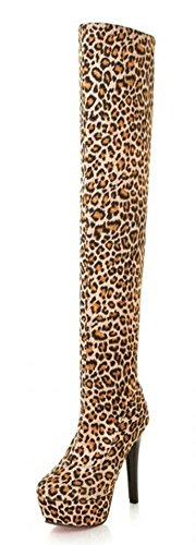 Aisun Leopard Elastic Platform Stiletto