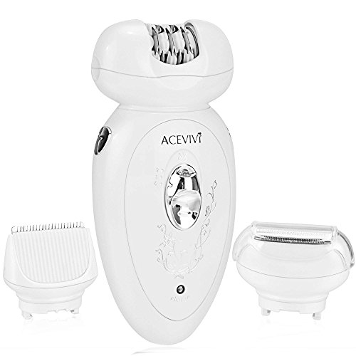 ACEVIVI Hair Removal Assembled 3 in 1 and 2 Level Speed Electric Epilator Shaver (White)