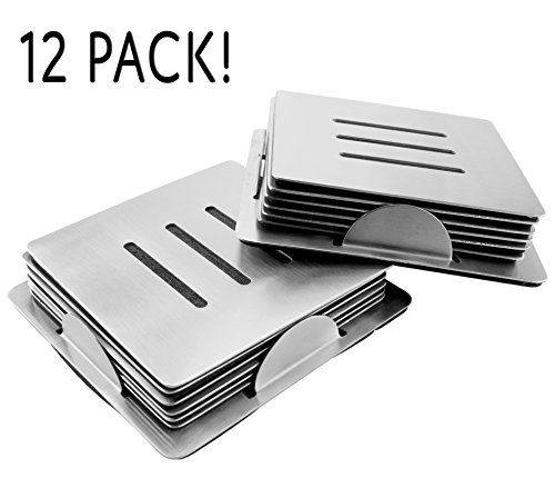 12-Pack Stainless Steel Coasters w/ Holders (2 Sets of 6 w/ 2 Caddies); Square Metal Drink Coasters (Chrome Coasters)