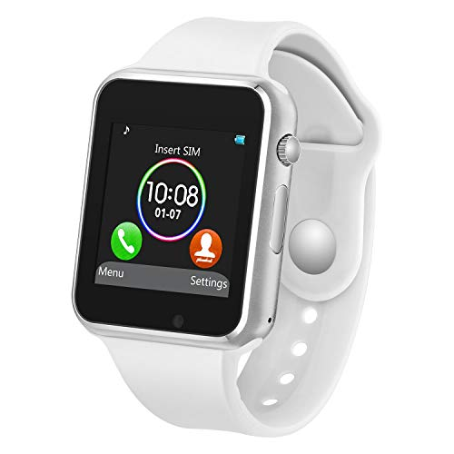Smart Watch with Bluetooth Camera Music Player for iOS iPhone, Android Samsung HTC Sony LG Huawei Smartphones (White) (Mp3 Player Braclet)