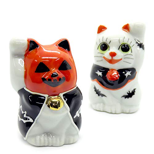 Kutani Japanese Pair Maneki Neko Lucky Halloween Cats -