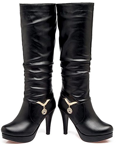 Easemax Women's Fashion Pull On Pointed Toe High Stiletto Heel Mid Calf Boots Black oi8ba0F8