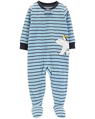 (Carter's Baby Boys 12M-5T One Piece Fleece Pajamas, Blue Polar Bear,)