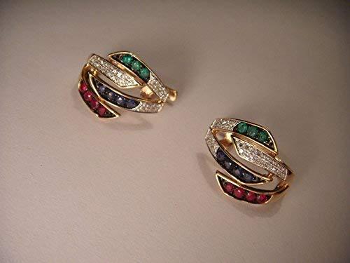 Pink Rose 14k Rare - Rare 14K Pink Rose Gold Diamond Emerald Sapphire Ruby Earrings