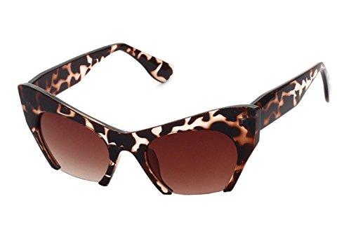 Caixia Women's SJT-5271 Cutoff Rimless Bottom Bold Frame Cateye Sunglasses (leopard, - Zero Glasses Frames