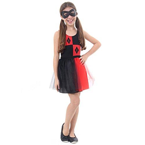 Fantasia Arlequina Dress Up Infantil Sulamericana Fantasias Preto/Vermelho M 6/8 Anos