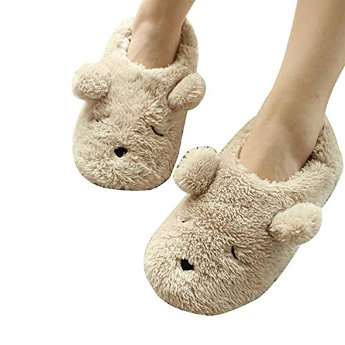Womens Indoor Warm Fleece Slippers, Ladies Girls Cute Cartoon Winter Soft Cozy Booties Non-Slip Plush Mules Home Bedroom Slip-On Shoes Ankle Boots (US Size:5-6.5 (EUR Size: 38/39), Cream Teddy (Lady Teddy Bear)