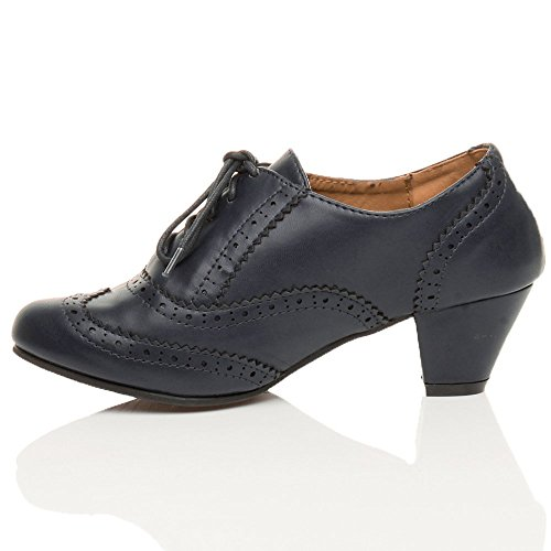 mid Shoe Booties Navy Out Block Lace Matte Heel Brogue Low Rubber Ladies Cut Sole Size Brogue up Womens Ajvani Comfort Boots aAU6EE