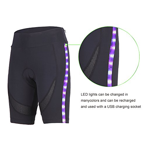 beroy 3D Padded Womens Bike Shorts With LED Lights and Two Invisible Pockets,Cycling Women's Shorts (Large, - Shorts With Bike Pockets Women's
