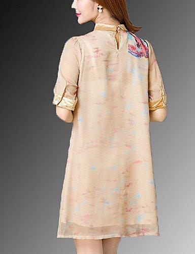 PU&PU Robe Aux femmes Trapèze Street Chic,Imprimé Mao Au dessus du genou Soie , yellow-xl , yellow-xl