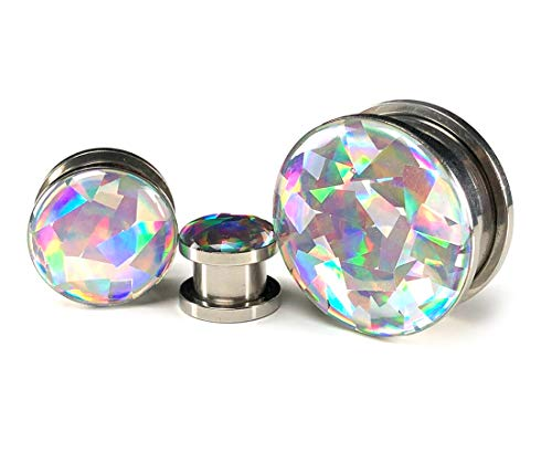 Mystic Metals Body Jewelry Pair of Screw on Holographic Prism Plugs - Sold as a Pair (00g (10mm))