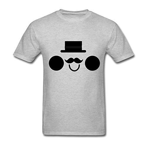 Funny Smiley Shyness Face Mustache Men's Classical Printed T Shirt Grey XXL