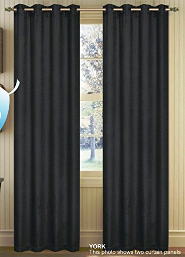 "Price comparison product image Set of 2 York Thermal Insulated Blackout Grommet Window Curtain Panel Plus Reduce outside Noise Size : 54"" x 84"" (Black)"
