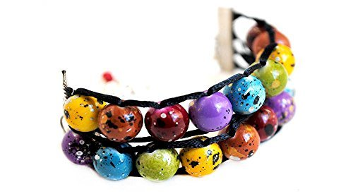 (Ablet Knitting Abacus Row Counter Bracelet, Painted Rainbow, 2-Tier - Count Your Rows In Style!)