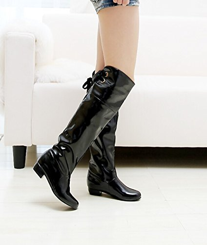 heels low wear folding Gaotong women repair legs Black two Patent leather boots boots 5Xx0wEp