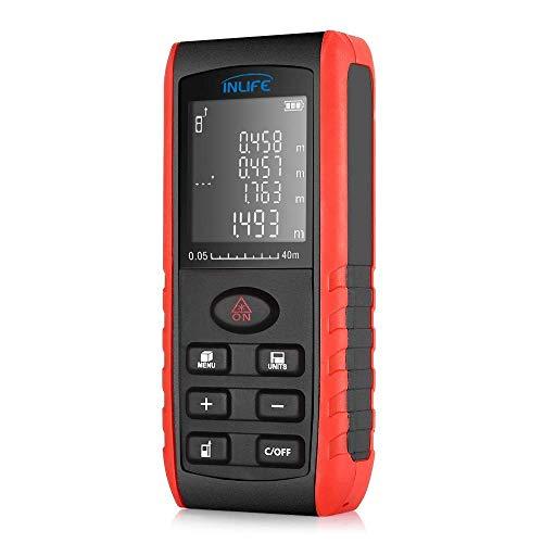 INLIFE Telémetro Láser 40m Medidor Láser de Distancia con 5 Tipos de Modo de Medición LCD Pantalla Grande y Brillante...