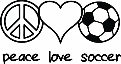 Design with Vinyl Design 247 Peace Love Soccer Picture Art Home Decor Sticker Vinyl Wall Decal, 12-Inch By 20-Inch, Black