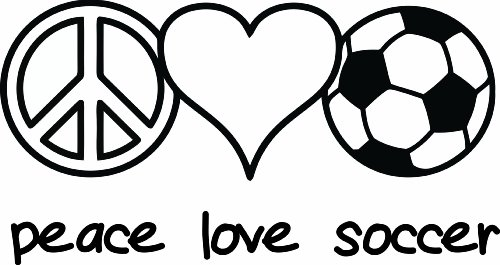 Design with Vinyl Design 247 Peace Love Soccer Picture Art Home Decor Sticker Vinyl Wall Decal, 12-Inch By 20-Inch, Black by Design with Vinyl