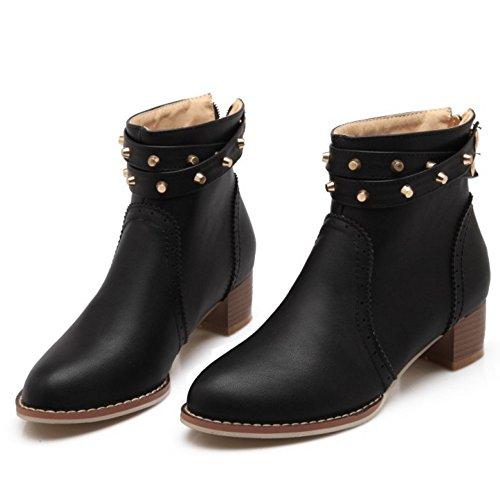 Heel Women Zipper Autumn COOLCEPT Fashion With Black Boots Block 7OtxAWqw