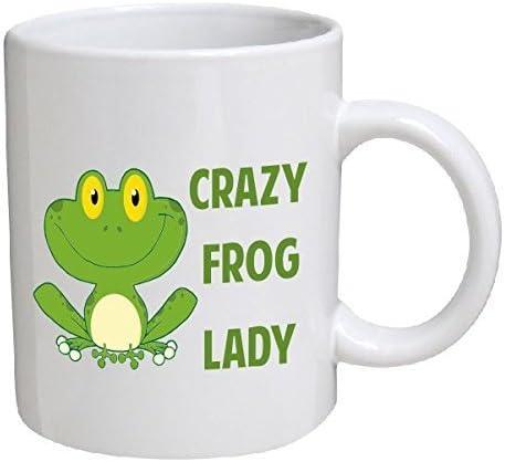 Crazy Frog Lady 11 Ounces Funny Coffee Mug