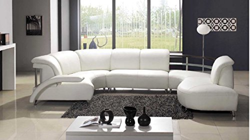 Model: 104   Modern White Leather Sectional Sofa