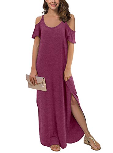 - GRECERELLE Women's Summer Strapless Strap Cold Shoulder Casual Loose Dress Cover Up Long Cami Split Maxi Dresses with Pocket VG-Rose Red-2XL