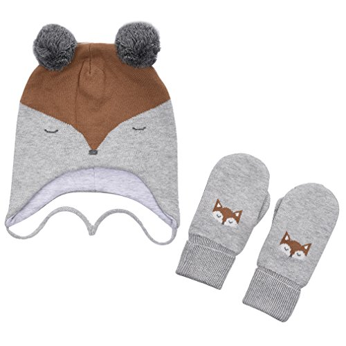 (ERISO Toddler Baby Fox Hat and Mittens Set Little Kids Knit Winter Caps (1-3 Years(18-19.5