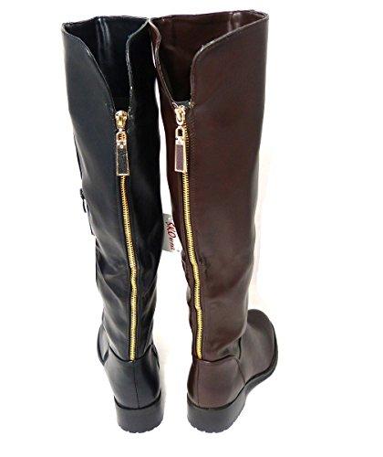 SKO'S Ladies Womens Mid Low Block Heel Knee High Calf Warm Winter Riding Boots Shoes Black (14052) XCG36ns