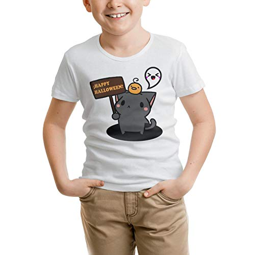 Naicissism Short Sleeve Happy Halloween Cat boy Casual
