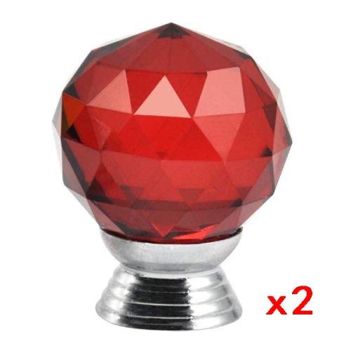 SODIAL (R) 2pcs Poignee Cristal Boutons de portes tiroirs Meubles de cuisine - rouge SODIAL(R)