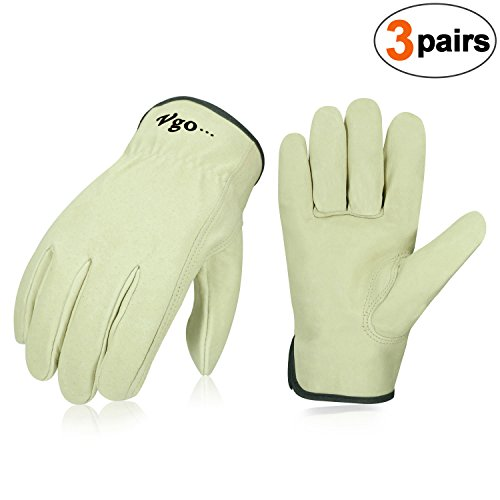Vgo 3Pairs Unlined Men's Pigskin Leather Work Gloves, Drivers Gloves(Size S,Light Cyan,PA9501) by Vgo...