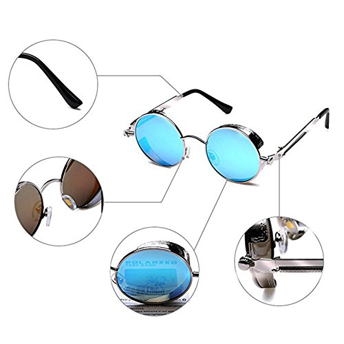 Glasses Polarized TEMPO Retro Steampunk Round Sunglasses Men Driving ZwqOYR7q
