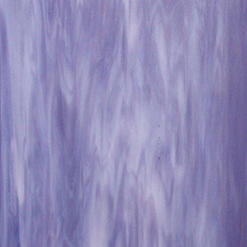 Violet, White Wispy Iridescent Wissmach Stained Glass Sheet - 8