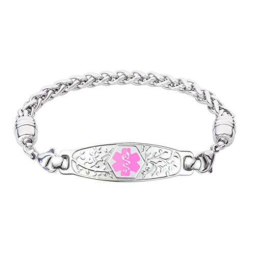 Divoti Custom Engraved Beautiful Olive Medical Alert Bracelet -Wheat Stainless -Pink-8.5'' by Divoti