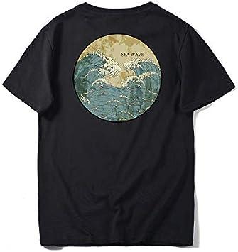 Estilo Chino Ola Círculo De Impresión De Media Manga Marea Marca Suelta Camisa De Fondo Cuello Redondo De Algodón De Manga Corta Camiseta Hombre S-3XL: Amazon.es: Bricolaje y herramientas